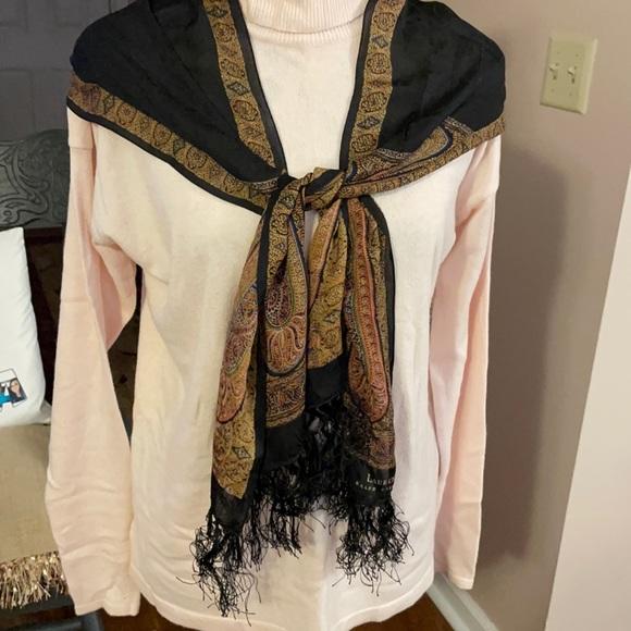 Ralph Lauren Scarf Black with Paisley Design